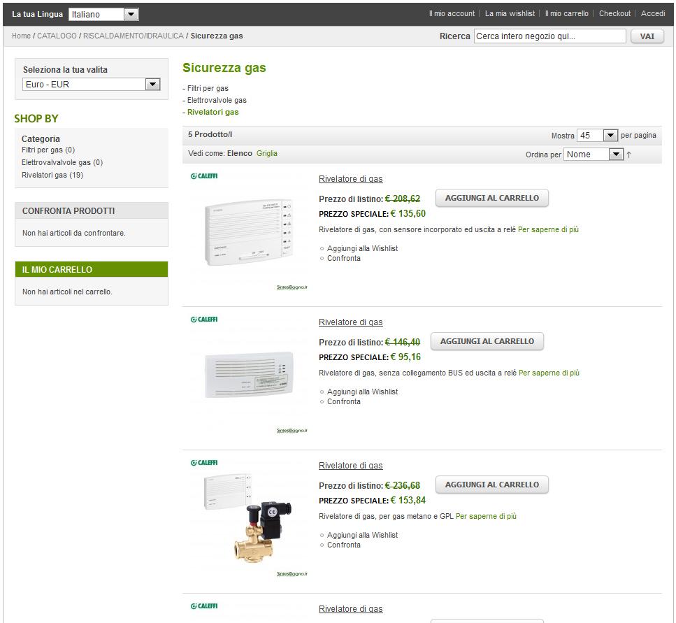 Caleffi prezzi e vendita online articoli idrotermosanitari | Sicurezza gas