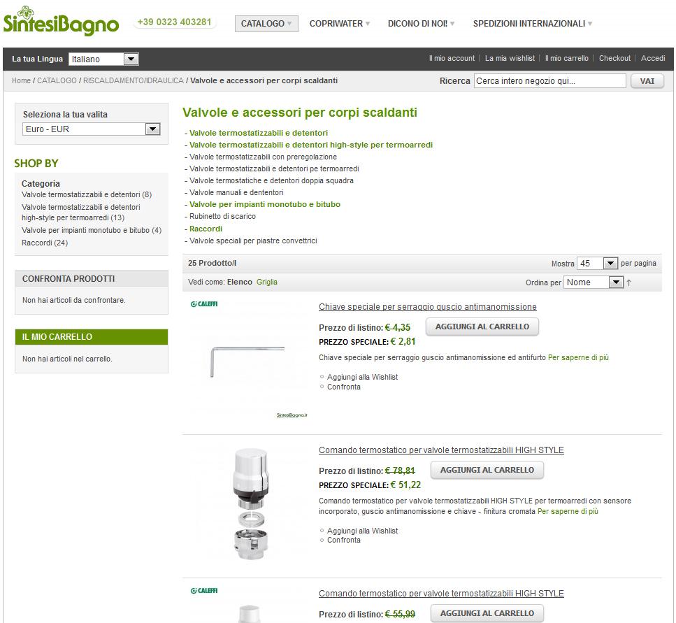 Caleffi prezzi e vendita online articoli idrotermosanitari | Valvole e accessori per corpi scaldanti
