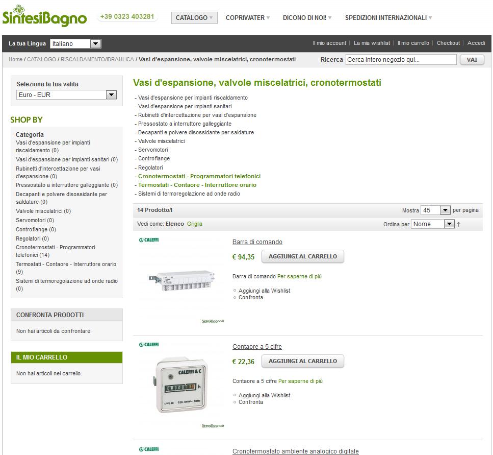 Caleffi prezzi e vendita online articoli idrotermosanitari | Vasi d'espansione, valvole miscelatrici, cronotermostati