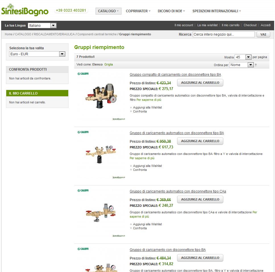 Vendita online prezzi prodotti idrotermosanitari marca Caleffi
