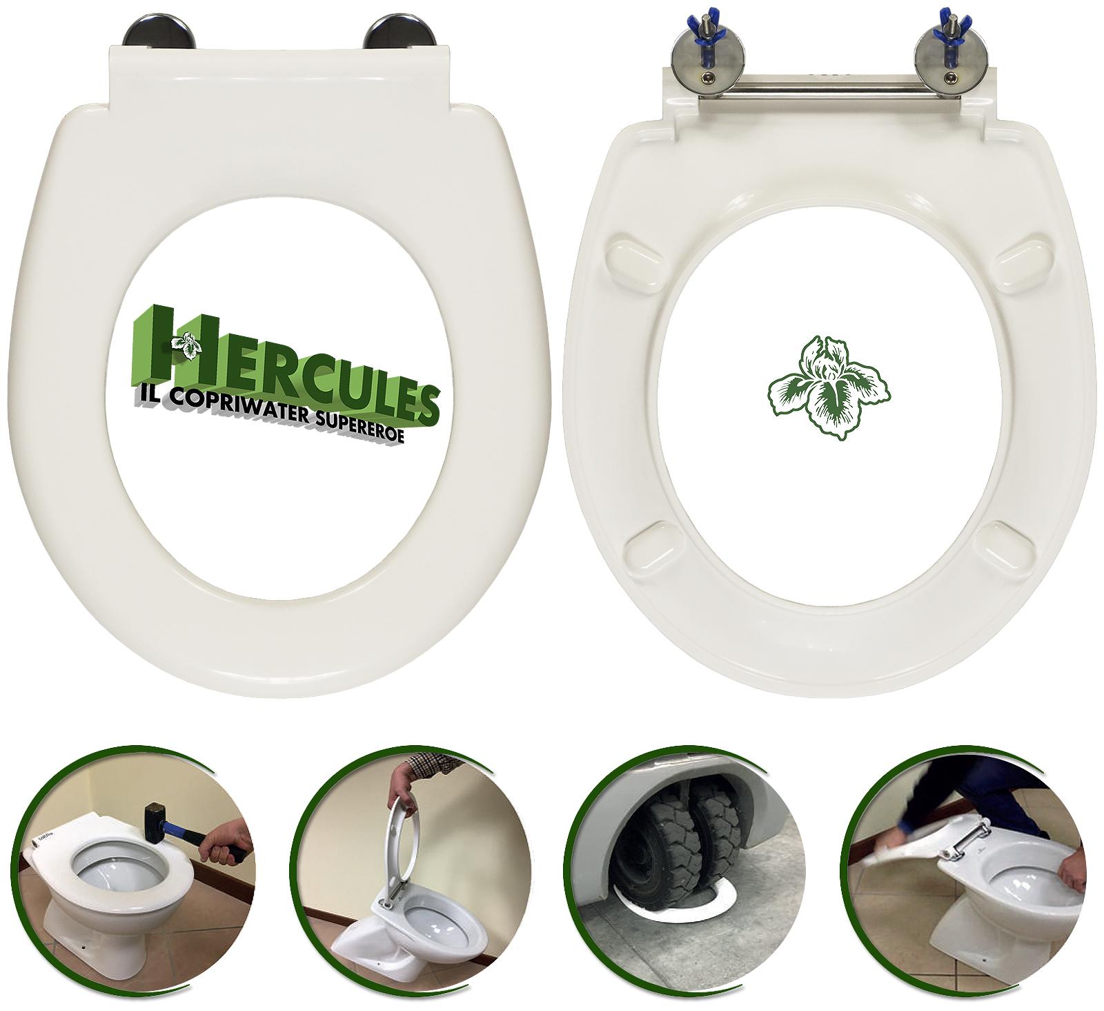 HERCULES è il copriwater universale ideato e progettato per i servizi igienici dei LUOGHI APERTI AL PUBBLICO.