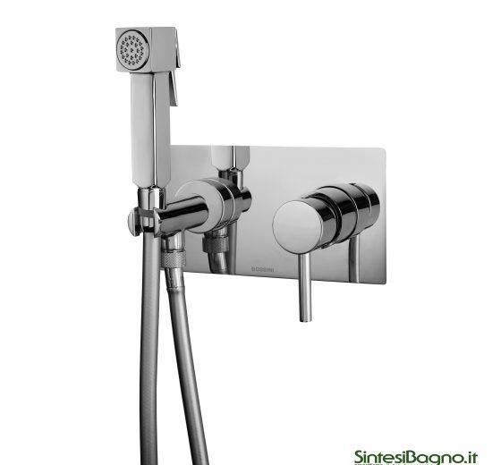 Miscelatore incasso con doccia a pulsante. Bossini Cube - Brass Mixer Set