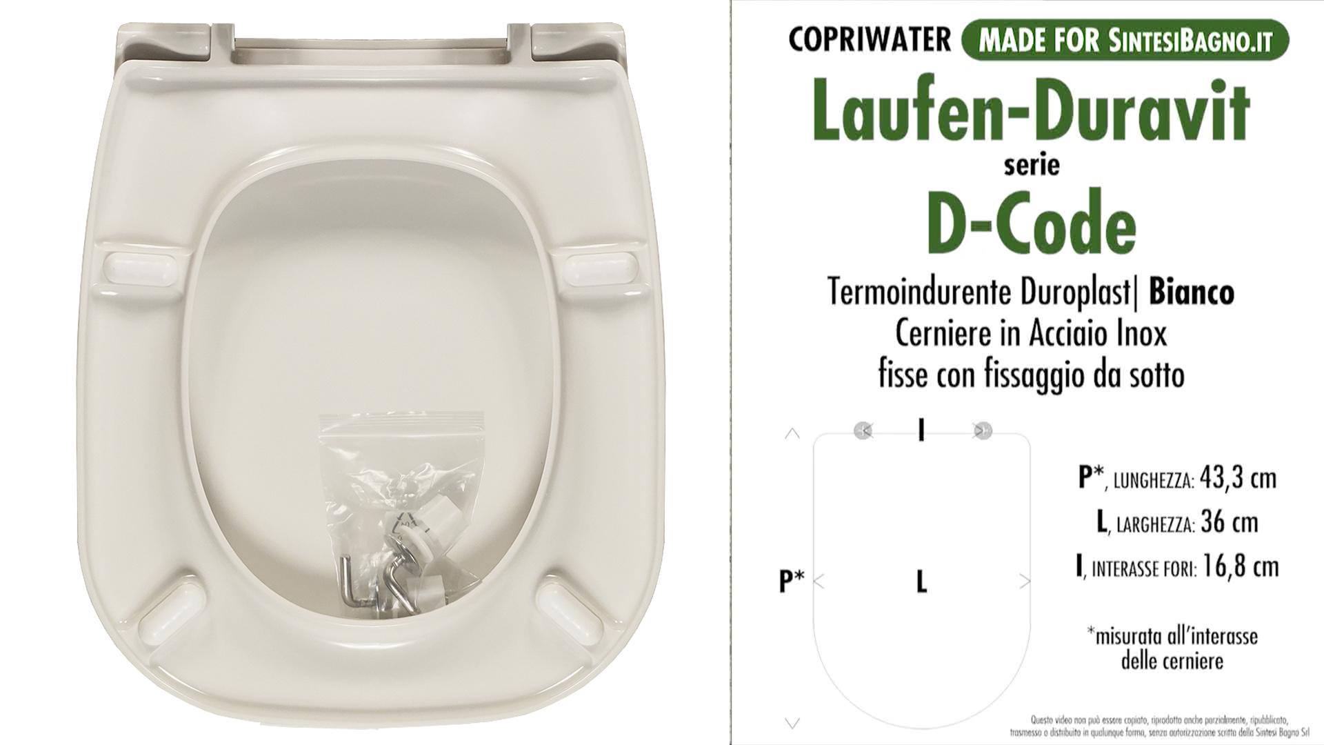 Risparmiare nell'acquisto del copriwater DURAVIT modello D-CODE SCHEDA TECNICA MISURE