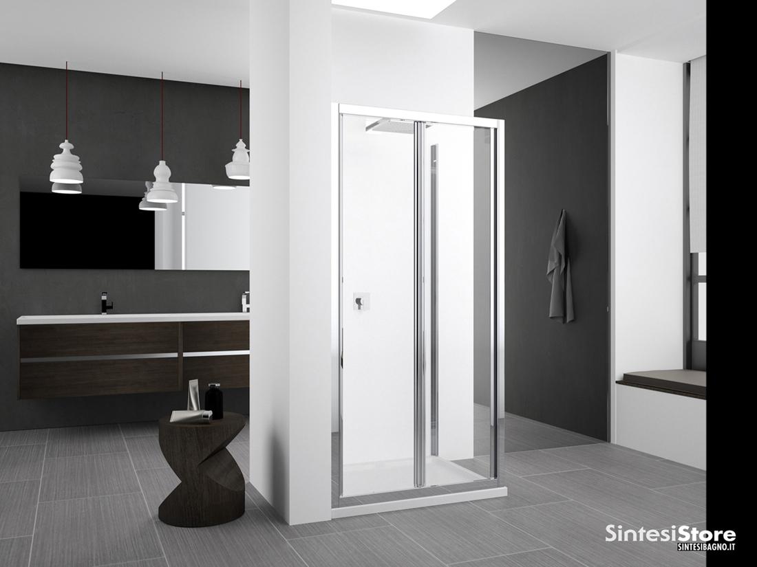 Novellini Zephyros S In/Out. Porta doccia, 2 ante a soffietto con apertura di sicurezza, in nicchia