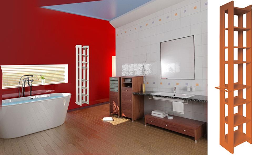 PACO design Luigi Brembilla Mobiletto portasalviette per bagno. Un mobile portaoggetti riscaldante per il bagno. A riscaldamento acceso, mantiene calde le pantofole, i ciabattini post doccia, la pila di asciugamani piccoli e grandi.